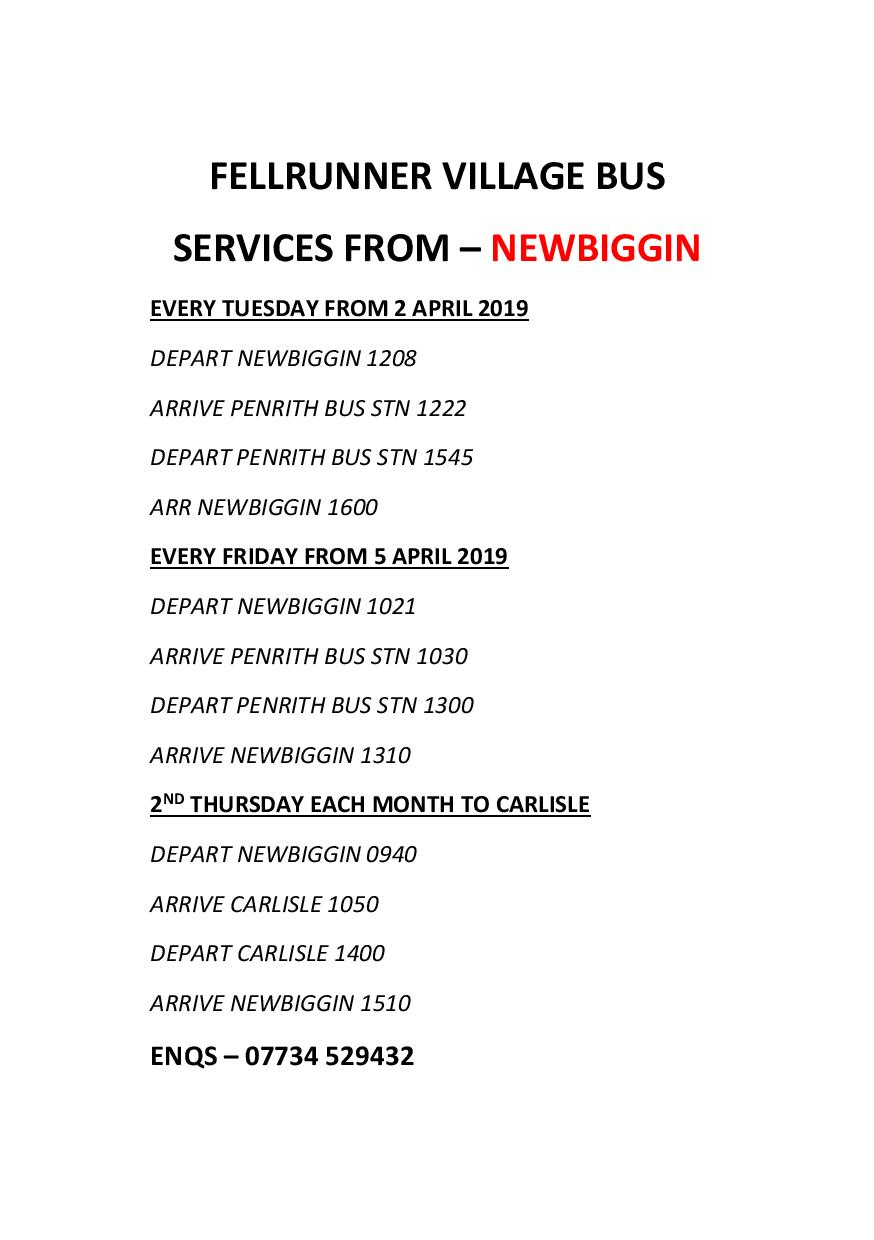 Newbiggin Fell Runner Timetable